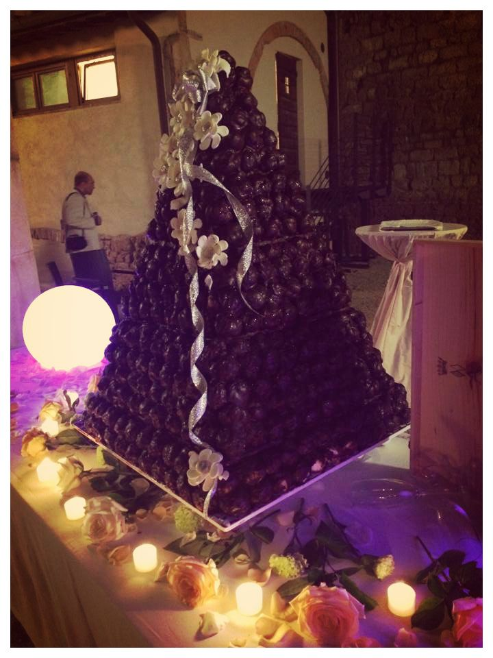 dark chocolate profiteroles wedding cake