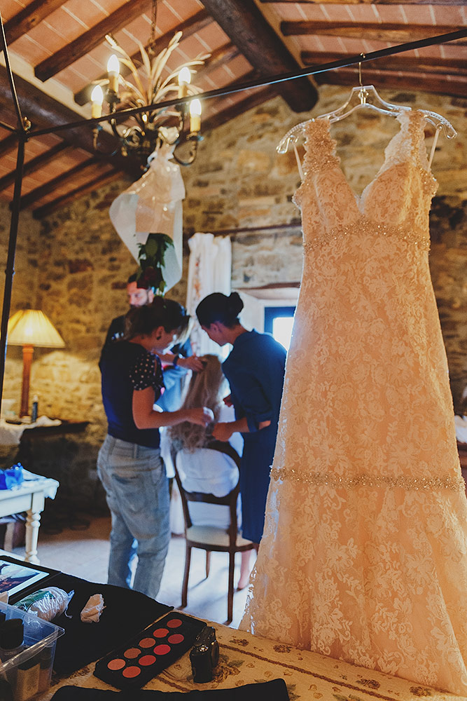 romantic wedding in Tuscany  - lace wedding gown